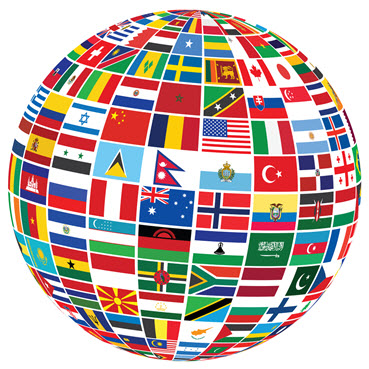 Flags from around the globe in the shape of globe
